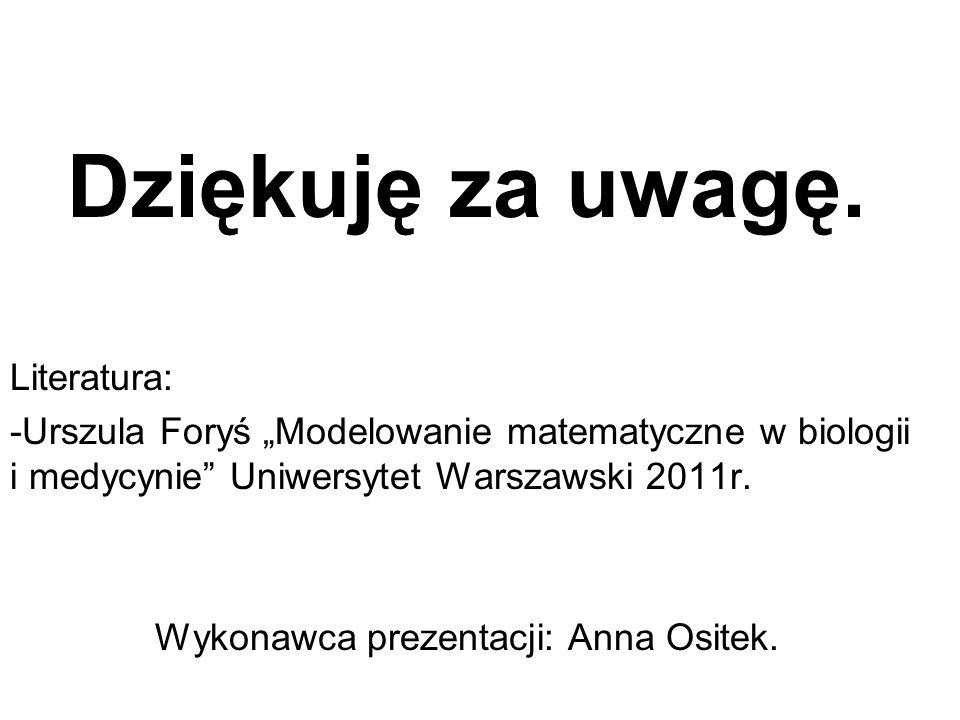 Dziękuję za uwagę. Literatura: -Urszula Foryś Modelowanie matematyczne w biologii i medycynie Uniwersytet Warszawski 2011r. Wykonawca prezentacji: Ann