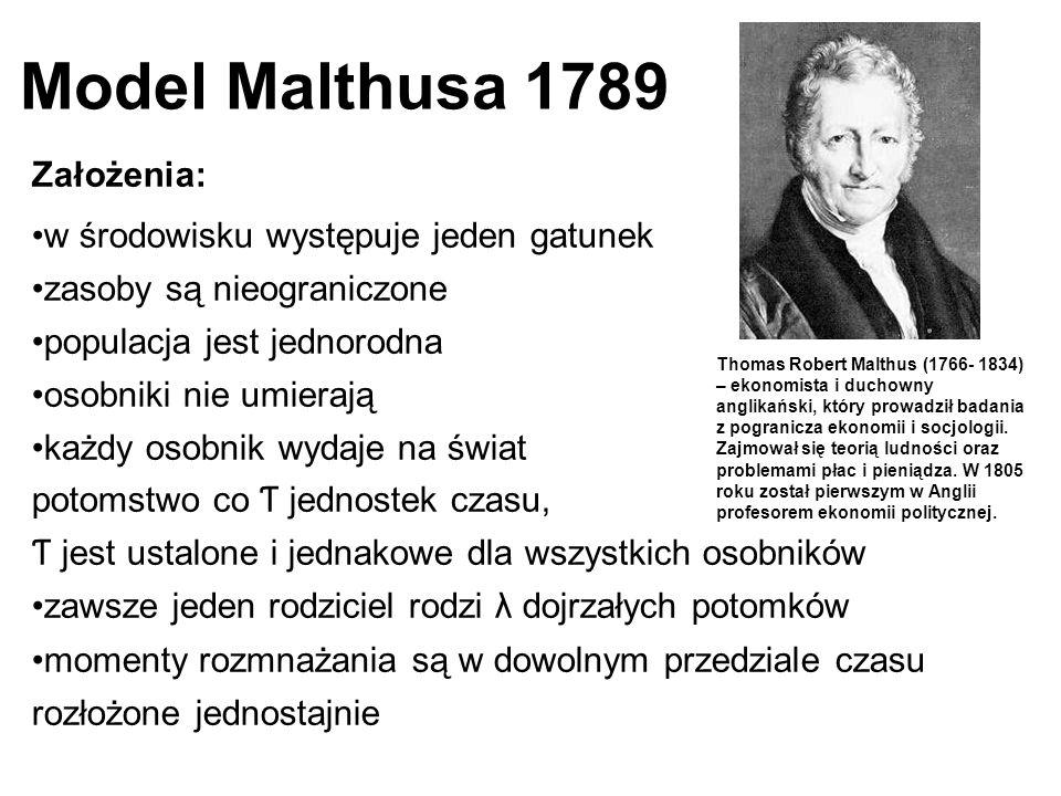 Model Malthusa 1789 Założenia: w środowisku występuje jeden gatunek zasoby są nieograniczone populacja jest jednorodna osobniki nie umierają każdy oso