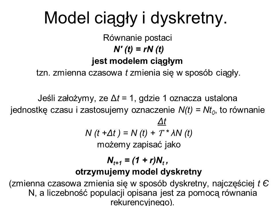 Model ciągły i dyskretny. Równanie postaci N' (t) = rN (t) jest modelem ciągłym tzn. zmienna czasowa t zmienia się w sposób ciągły. Jeśli założymy, ze