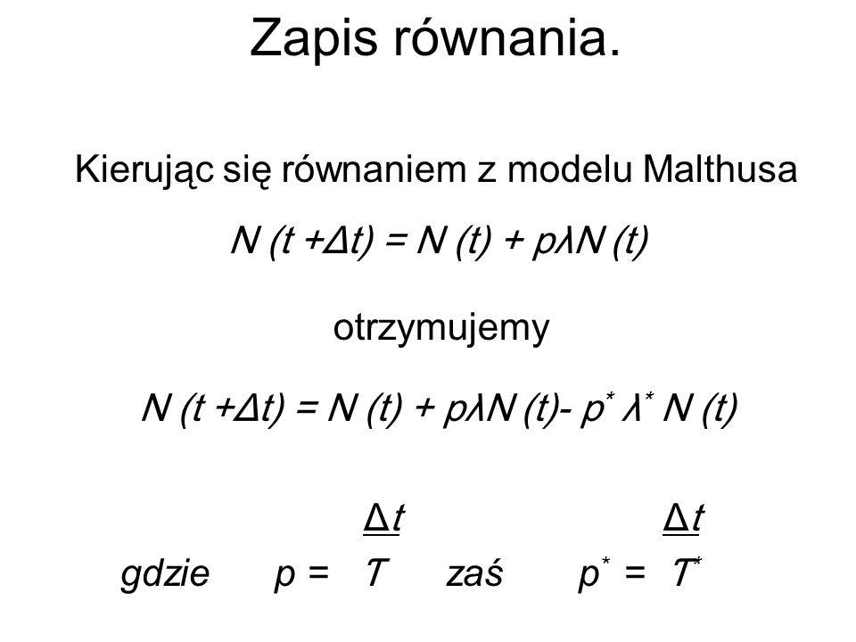 Uproszczenie równania N (t +Δt) = N (t) + pλN (t)- p * λ * N (t) r - współczynnik rozrodczości populacji P, s- współczynnik śmiertelności populacji P, r n = r - s współczynnik rozrodczości,,netto, czyli różnicę między współczynnikiem rozrodczości a śmiertelności.