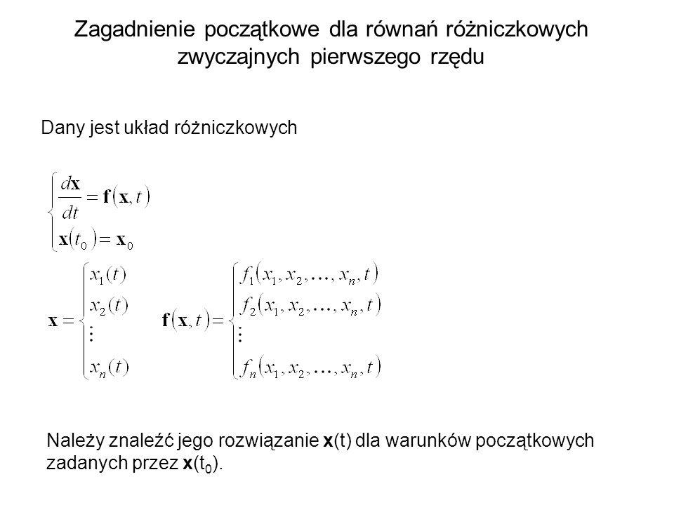 Zagadnienie początkowe dla równań różniczkowych zwyczajnych pierwszego rzędu Dany jest układ różniczkowych Należy znaleźć jego rozwiązanie x(t) dla wa