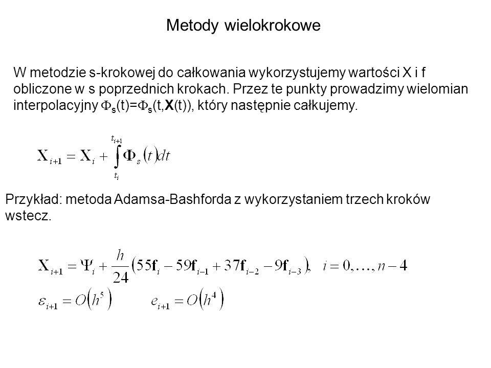 Metody wielokrokowe W metodzie s-krokowej do całkowania wykorzystujemy wartości X i f obliczone w s poprzednich krokach. Przez te punkty prowadzimy wi