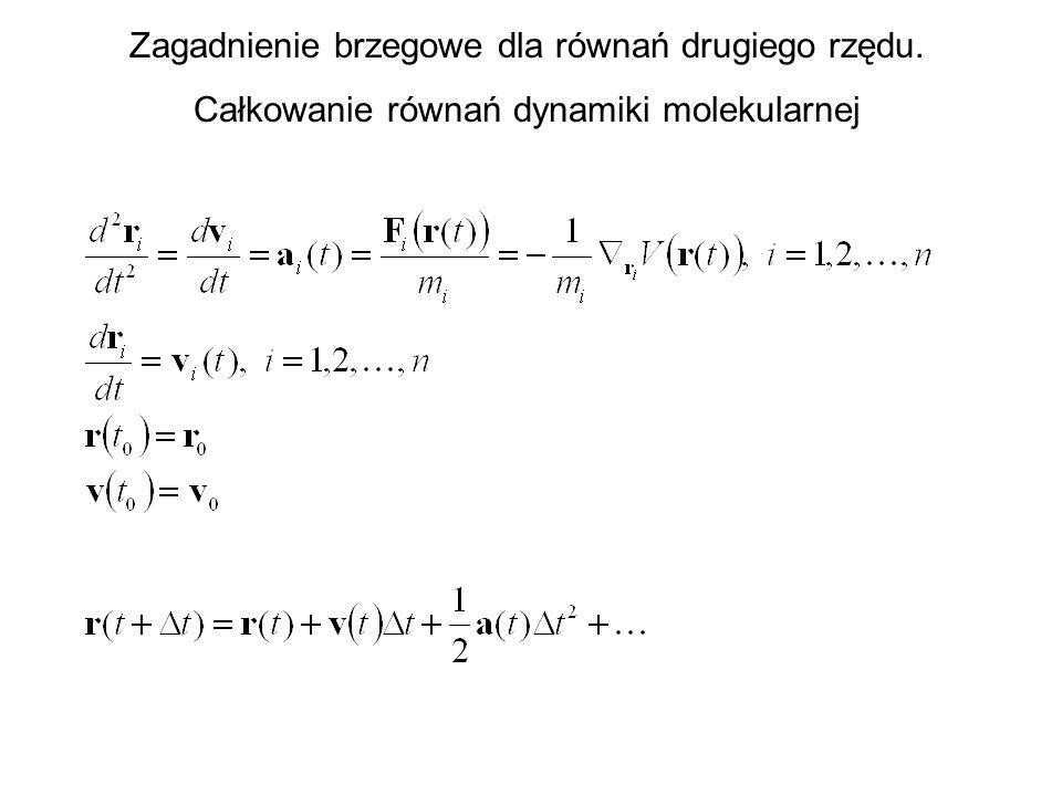 Zagadnienie brzegowe dla równań drugiego rzędu. Całkowanie równań dynamiki molekularnej
