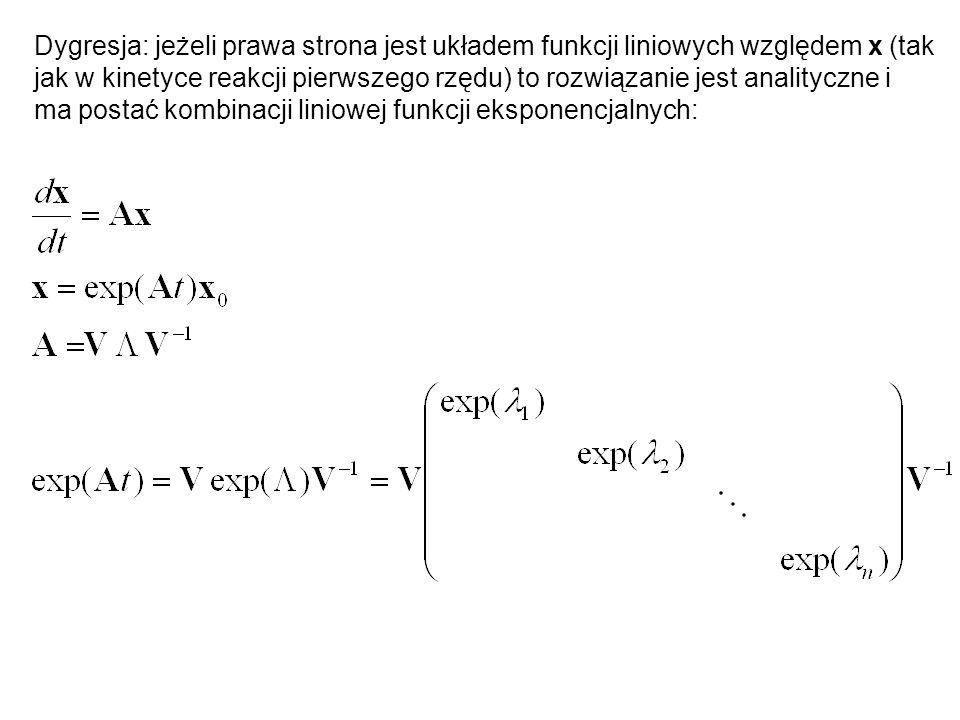 Dygresja: jeżeli prawa strona jest układem funkcji liniowych względem x (tak jak w kinetyce reakcji pierwszego rzędu) to rozwiązanie jest analityczne