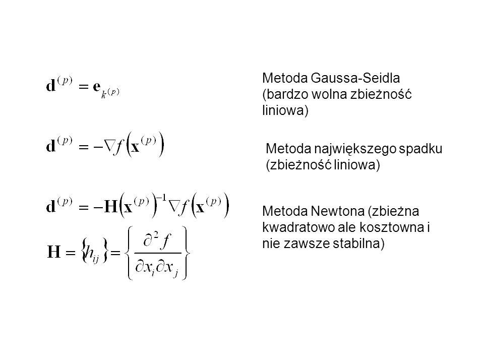 Metoda Gaussa-Seidla (bardzo wolna zbieżność liniowa) Metoda największego spadku (zbieżność liniowa) Metoda Newtona (zbieżna kwadratowo ale kosztowna