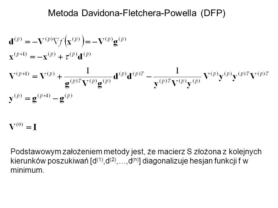 Metoda Davidona-Fletchera-Powella (DFP) Podstawowym założeniem metody jest, że macierz S złożona z kolejnych kierunków poszukiwań [d (1),d (2),…,d (n)