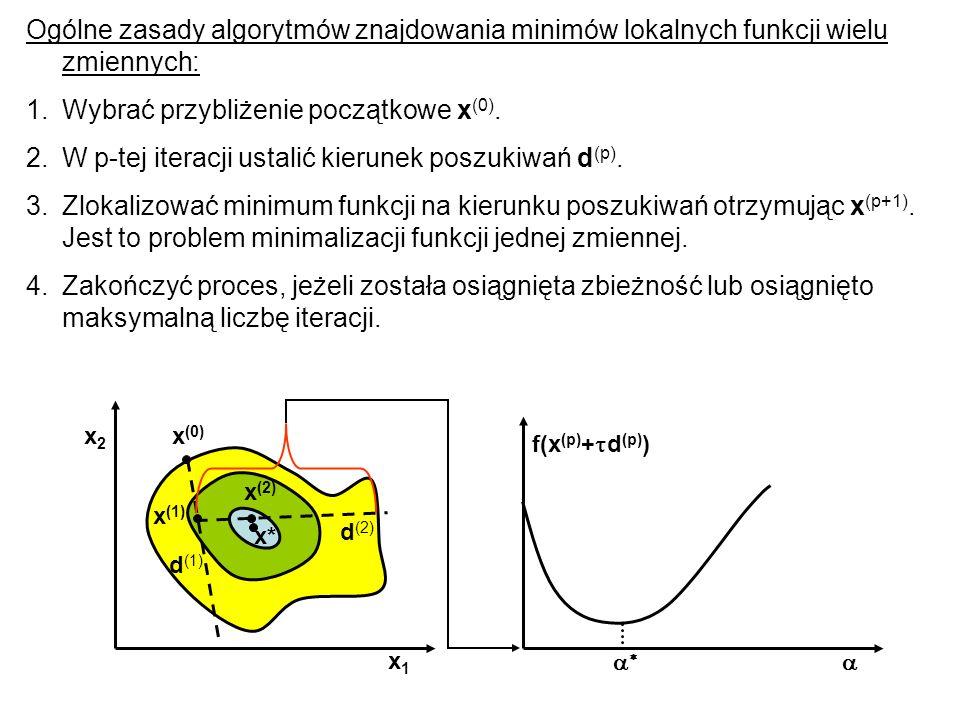 d (1) x (0) x (1) x (2) d (2) x* x1x1 x2x2 f(x (p) + d (p) ) Ogólne zasady algorytmów znajdowania minimów lokalnych funkcji wielu zmiennych: 1.Wybrać