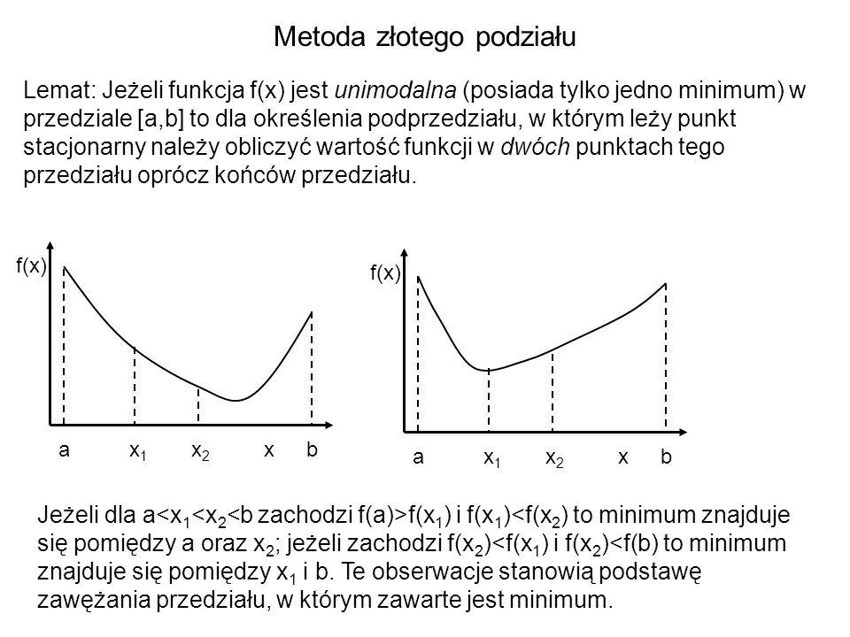 Metoda złotego podziału Lemat: Jeżeli funkcja f(x) jest unimodalna (posiada tylko jedno minimum) w przedziale [a,b] to dla określenia podprzedziału, w