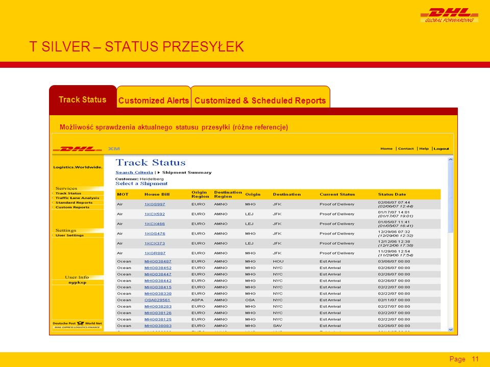 Page11 T SILVER – STATUS PRZESYŁEK Customized & Scheduled Reports Customized Alerts Track Status Możliwość sprawdzenia aktualnego statusu przesyłki (różne referencje)