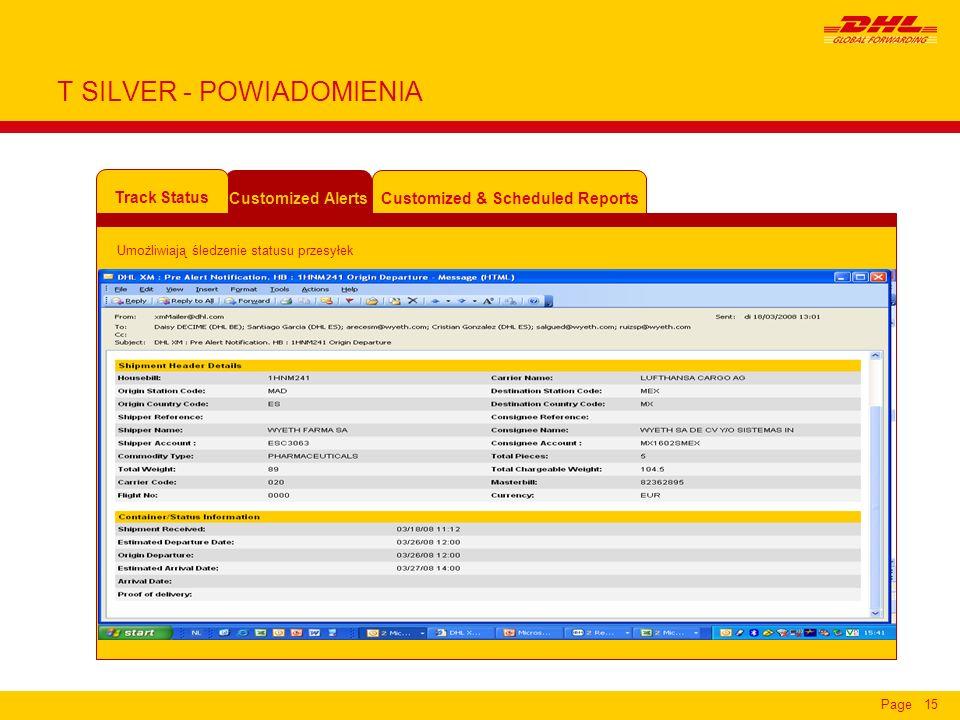 Page15 T SILVER - POWIADOMIENIA Customized & Scheduled Reports Customized Alerts Track Status Umożliwiają śledzenie statusu przesyłek