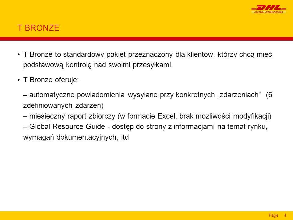 Page4 T BRONZE T Bronze to standardowy pakiet przeznaczony dla klientów, którzy chcą mieć podstawową kontrolę nad swoimi przesyłkami.