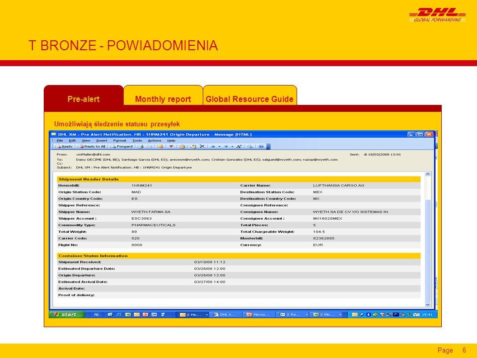 Page6 T BRONZE - POWIADOMIENIA Pre-alert Global Resource GuideMonthly report Umożliwiają śledzenie statusu przesyłek