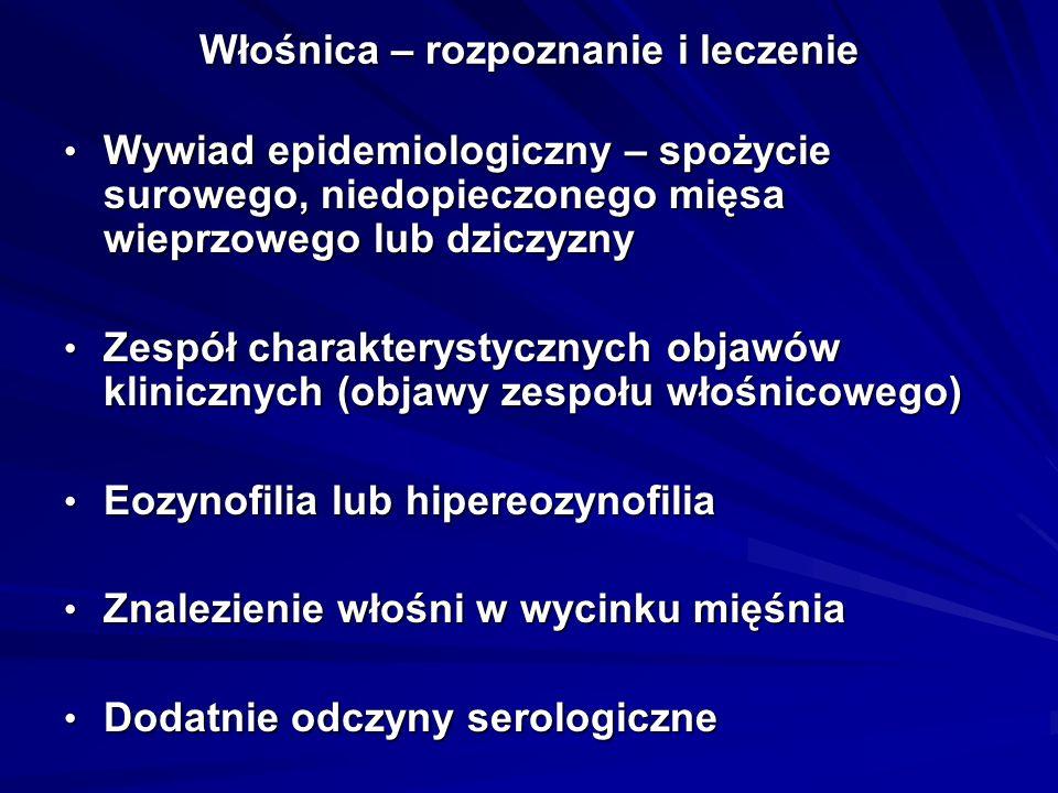 Włośnica – rozpoznanie i leczenie Wywiad epidemiologiczny – spożycie surowego, niedopieczonego mięsa wieprzowego lub dziczyzny Wywiad epidemiologiczny