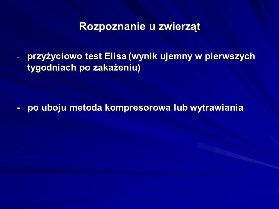 Rozpoznanie u zwierząt - przyżyciowo test Elisa (wynik ujemny w pierwszych tygodniach po zakażeniu) - po uboju metoda kompresorowa lub wytrawiania