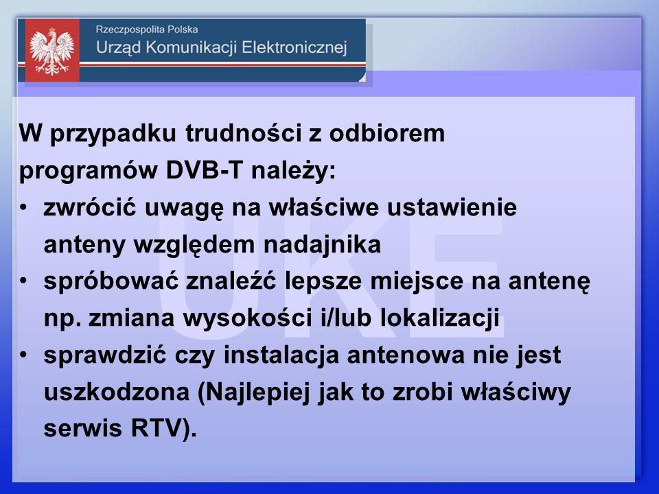 W przypadku trudności z odbiorem programów DVB-T należy: zwrócić uwagę na właściwe ustawienie anteny względem nadajnika spróbować znaleźć lepsze miejs
