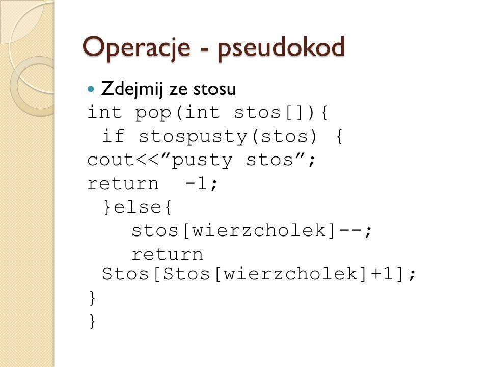 Operacje - pseudokod Zdejmij ze stosu int pop(int stos[]){ if stospusty(stos) { cout<<pusty stos; return -1; }else{ stos[wierzcholek]--; return Stos[S
