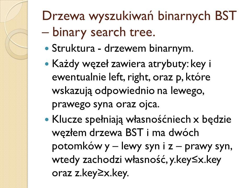 Drzewa wyszukiwań binarnych BST – binary search tree. Struktura - drzewem binarnym. Każdy węzeł zawiera atrybuty: key i ewentualnie left, right, oraz