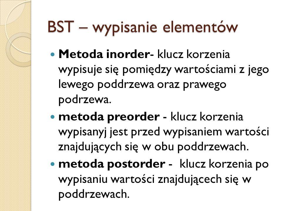 BST – wypisanie elementów Metoda inorder- klucz korzenia wypisuje się pomiędzy wartościami z jego lewego poddrzewa oraz prawego podrzewa. metoda preor