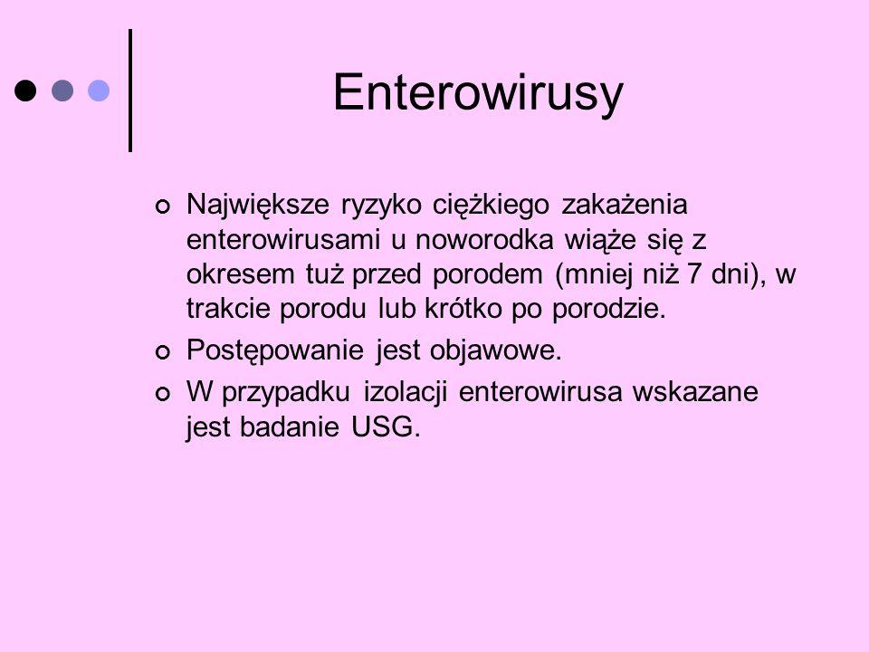 Enterowirusy Największe ryzyko ciężkiego zakażenia enterowirusami u noworodka wiąże się z okresem tuż przed porodem (mniej niż 7 dni), w trakcie porod