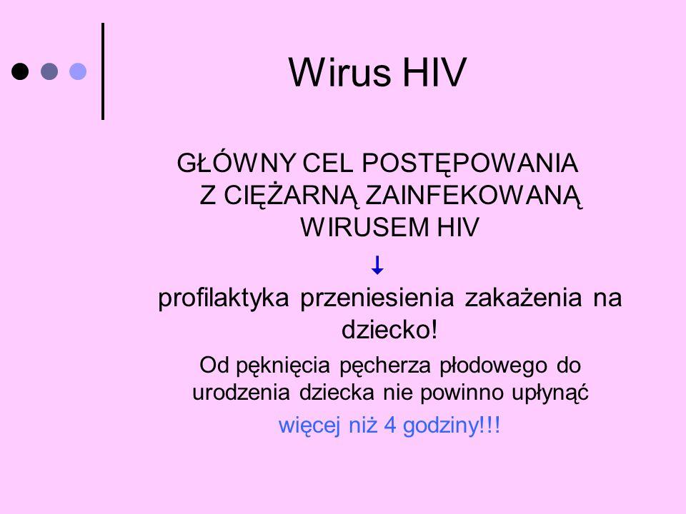 Wirus HIV GŁÓWNY CEL POSTĘPOWANIA Z CIĘŻARNĄ ZAINFEKOWANĄ WIRUSEM HIV profilaktyka przeniesienia zakażenia na dziecko! Od pęknięcia pęcherza płodowego