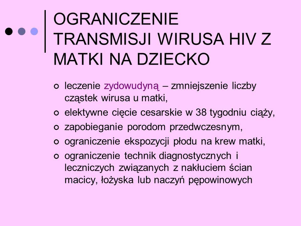 OGRANICZENIE TRANSMISJI WIRUSA HIV Z MATKI NA DZIECKO leczenie zydowudyną – zmniejszenie liczby cząstek wirusa u matki, elektywne cięcie cesarskie w 3