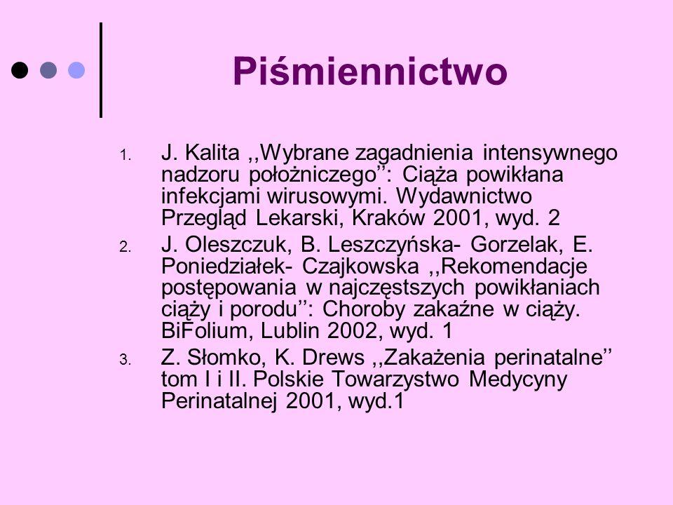 Piśmiennictwo 1. J. Kalita,,Wybrane zagadnienia intensywnego nadzoru położniczego: Ciąża powikłana infekcjami wirusowymi. Wydawnictwo Przegląd Lekarsk