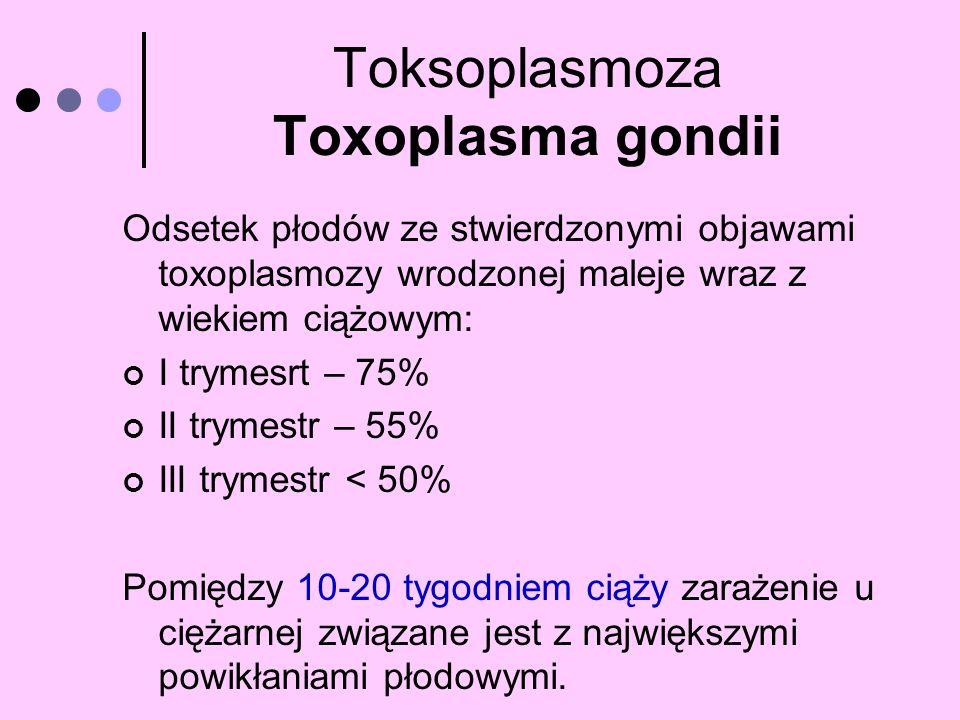 Toksoplasmoza Toxoplasma gondii Odsetek płodów ze stwierdzonymi objawami toxoplasmozy wrodzonej maleje wraz z wiekiem ciążowym: I trymesrt – 75% II tr