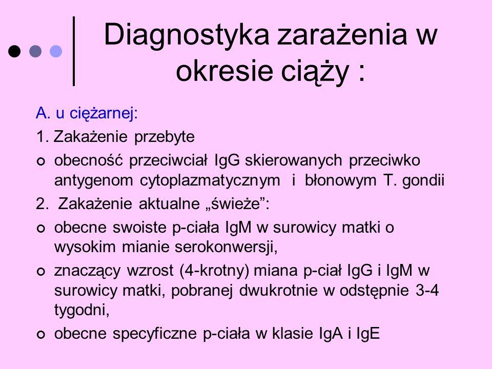 Diagnostyka zarażenia w okresie ciąży : A. u ciężarnej: 1. Zakażenie przebyte obecność przeciwciał IgG skierowanych przeciwko antygenom cytoplazmatycz