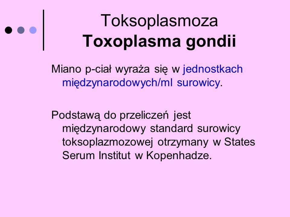 Toksoplasmoza Toxoplasma gondii Miano p-ciał wyraża się w jednostkach międzynarodowych/ml surowicy. Podstawą do przeliczeń jest międzynarodowy standar