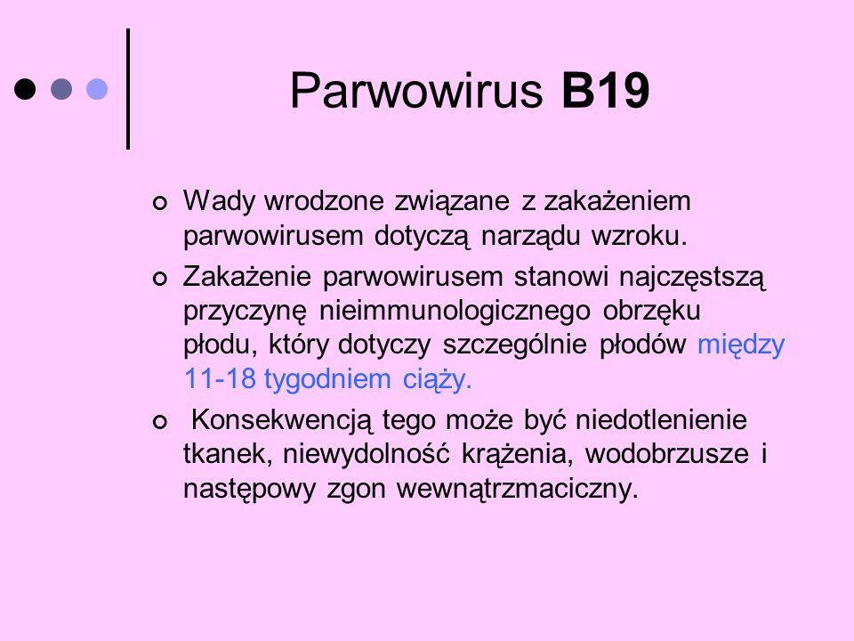 Parwowirus B19 Wady wrodzone związane z zakażeniem parwowirusem dotyczą narządu wzroku. Zakażenie parwowirusem stanowi najczęstszą przyczynę nieimmuno