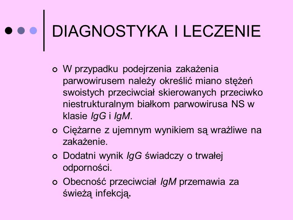 DIAGNOSTYKA I LECZENIE W przypadku podejrzenia zakażenia parwowirusem należy określić miano stężeń swoistych przeciwciał skierowanych przeciwko niestr