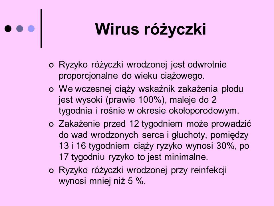 Wirus różyczki Ryzyko różyczki wrodzonej jest odwrotnie proporcjonalne do wieku ciążowego. We wczesnej ciąży wskaźnik zakażenia płodu jest wysoki (pra