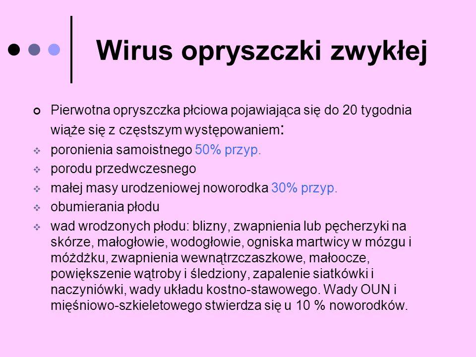 Wirus opryszczki zwykłej Pierwotna opryszczka płciowa pojawiająca się do 20 tygodnia wiąże się z częstszym występowaniem : poronienia samoistnego 50%