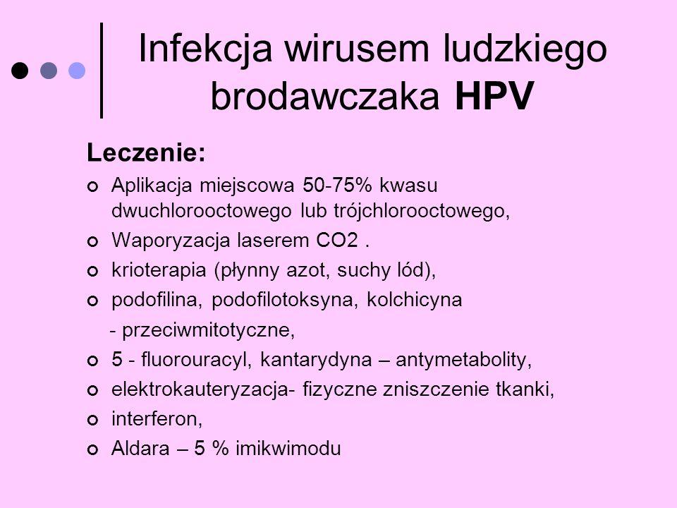 Infekcja wirusem ludzkiego brodawczaka HPV Leczenie: Aplikacja miejscowa 50-75% kwasu dwuchlorooctowego lub trójchlorooctowego, Waporyzacja laserem CO