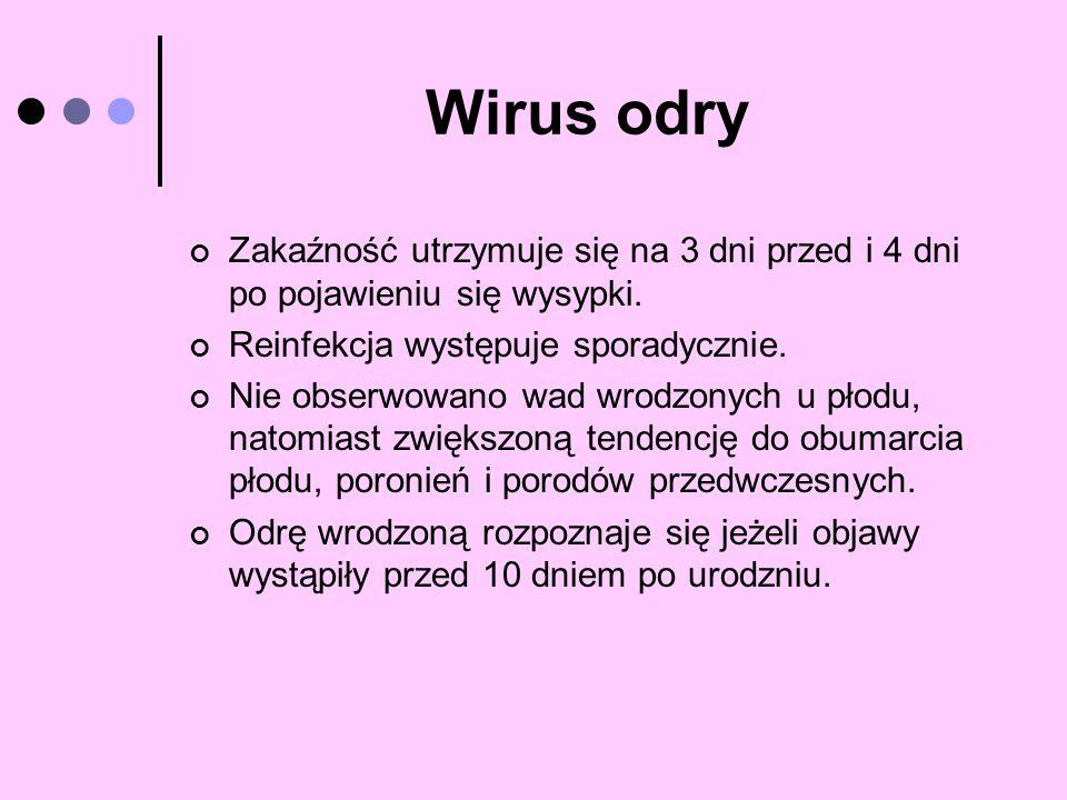 Wirus odry Zakaźność utrzymuje się na 3 dni przed i 4 dni po pojawieniu się wysypki. Reinfekcja występuje sporadycznie. Nie obserwowano wad wrodzonych