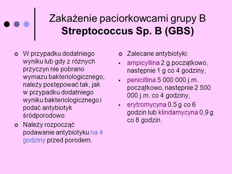 Zakażenie paciorkowcami grupy B Streptococcus Sp. B (GBS) W przypadku dodatniego wyniku lub gdy z różnych przyczyn nie pobrano wymazu bakteriologiczne