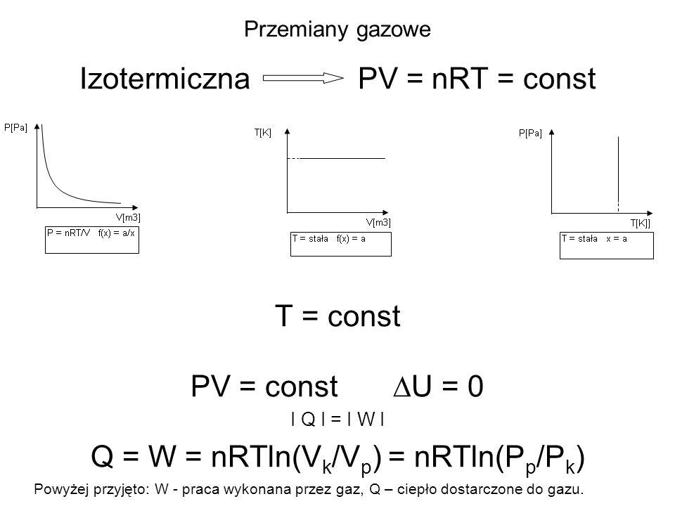 Przemiany gazowe Izotermiczna PV = nRT = const T = const PV = const U = 0 I Q I = I W I Q = W = nRTln(V k /V p ) = nRTln(P p /P k ) Powyżej przyjęto:
