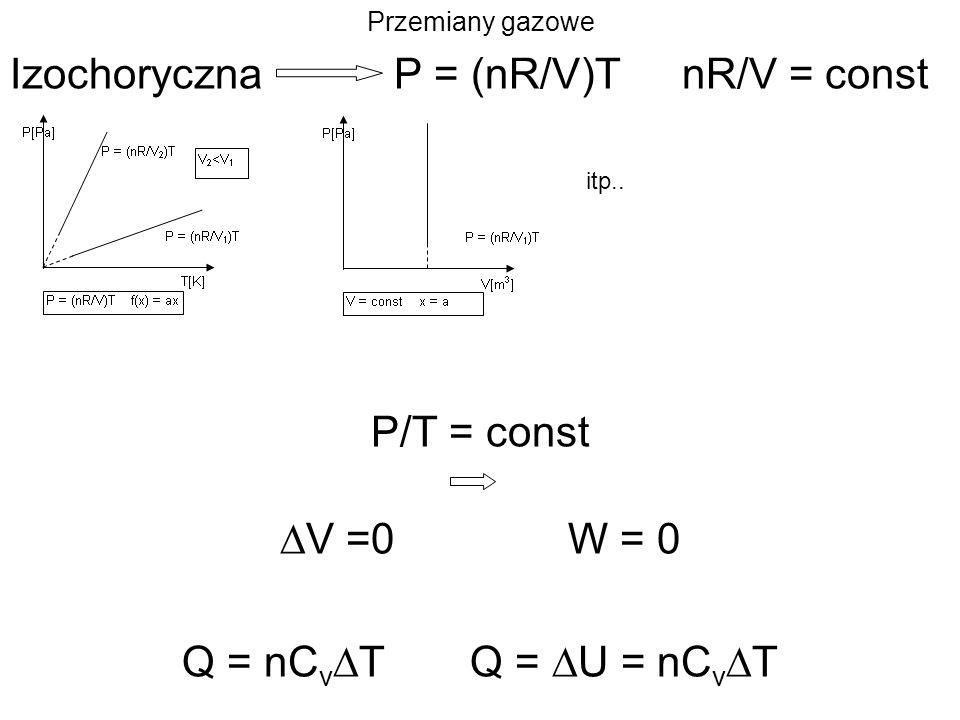 Przemiany gazowe IzochorycznaP = (nR/V)TnR/V = const itp.. P/T = const V =0W = 0 Q = nC v TQ = U = nC v T