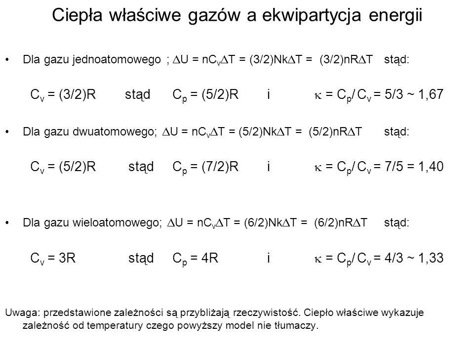 Ciepła właściwe gazów a ekwipartycja energii Dla gazu jednoatomowego ; U = nC v T = (3/2)Nk T = (3/2)nR Tstąd: C v = (3/2)RstądC p = (5/2)Ri = C p / C