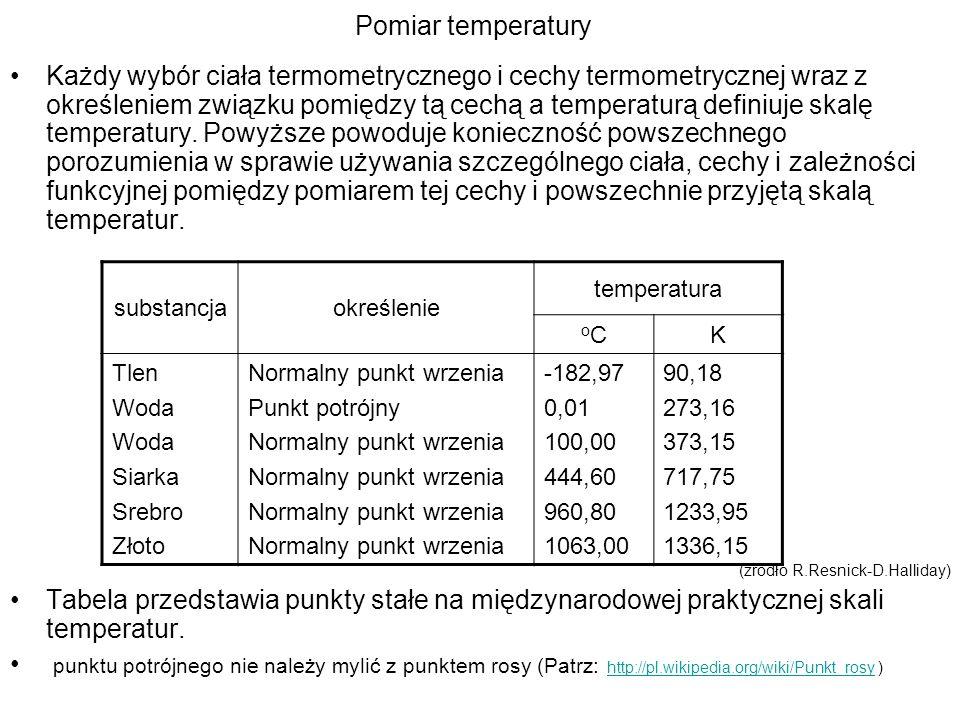 Pomiar temperatury Każdy wybór ciała termometrycznego i cechy termometrycznej wraz z określeniem związku pomiędzy tą cechą a temperaturą definiuje ska
