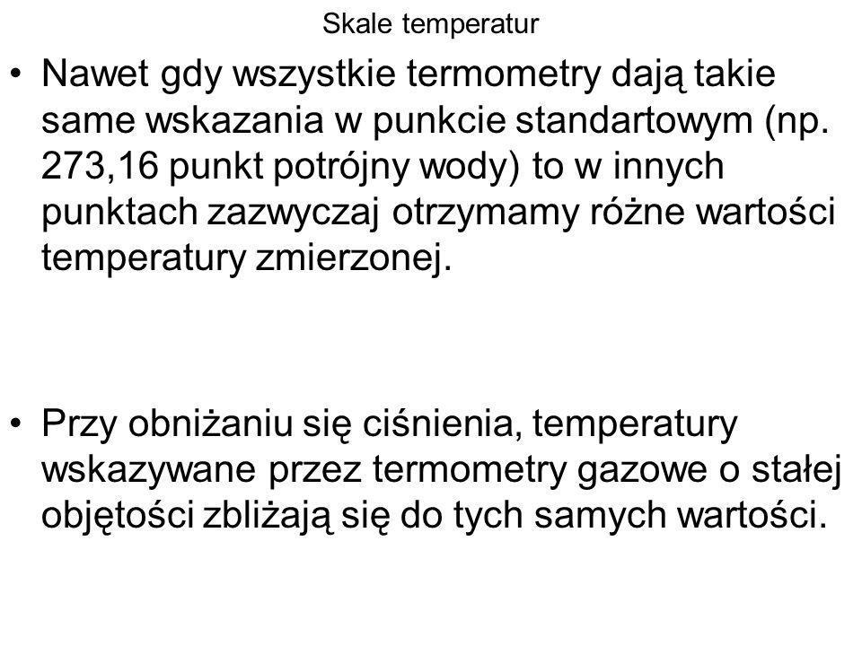 Skale temperatur Nawet gdy wszystkie termometry dają takie same wskazania w punkcie standartowym (np. 273,16 punkt potrójny wody) to w innych punktach