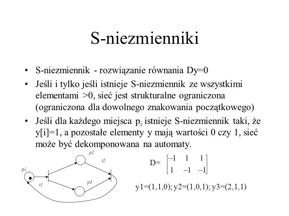 S-niezmienniki S-niezmiennik - rozwiązanie równania Dy=0 Jeśli i tylko jeśli istnieje S-niezmiennik ze wszystkimi elementami >0, sieć jest strukturaln