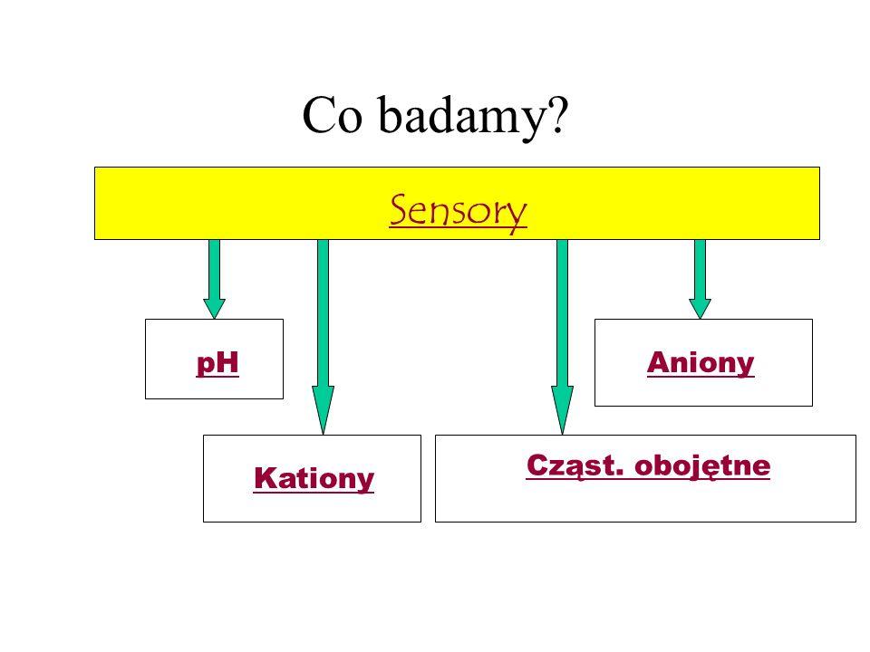 Co badamy? Sensory Kationy pHAniony Cząst. obojętne