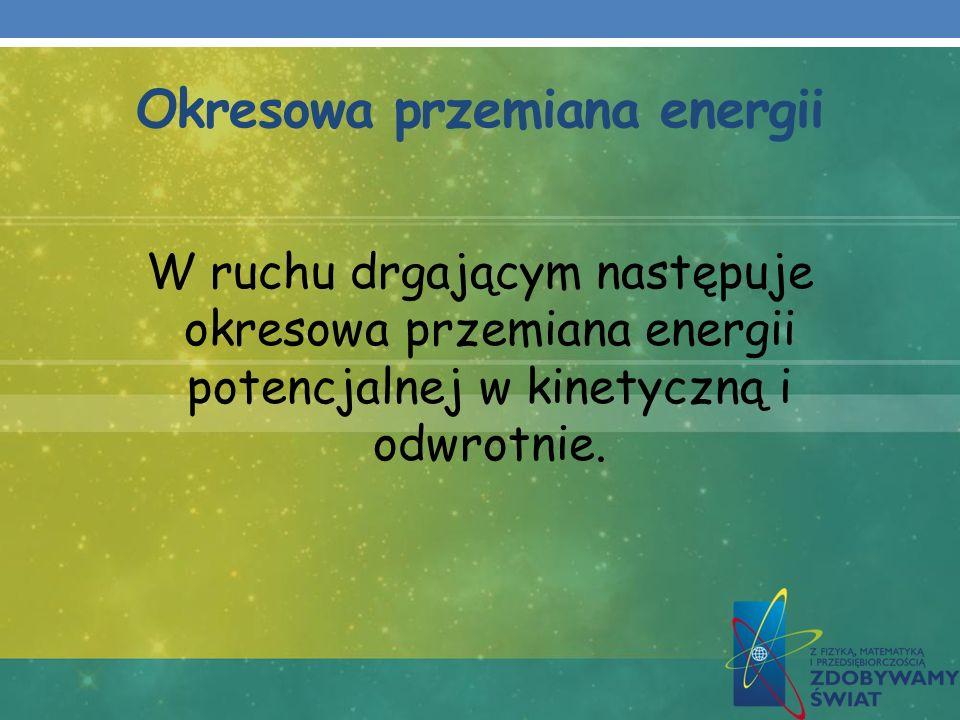 Okresowa przemiana energii W ruchu drgającym następuje okresowa przemiana energii potencjalnej w kinetyczną i odwrotnie.