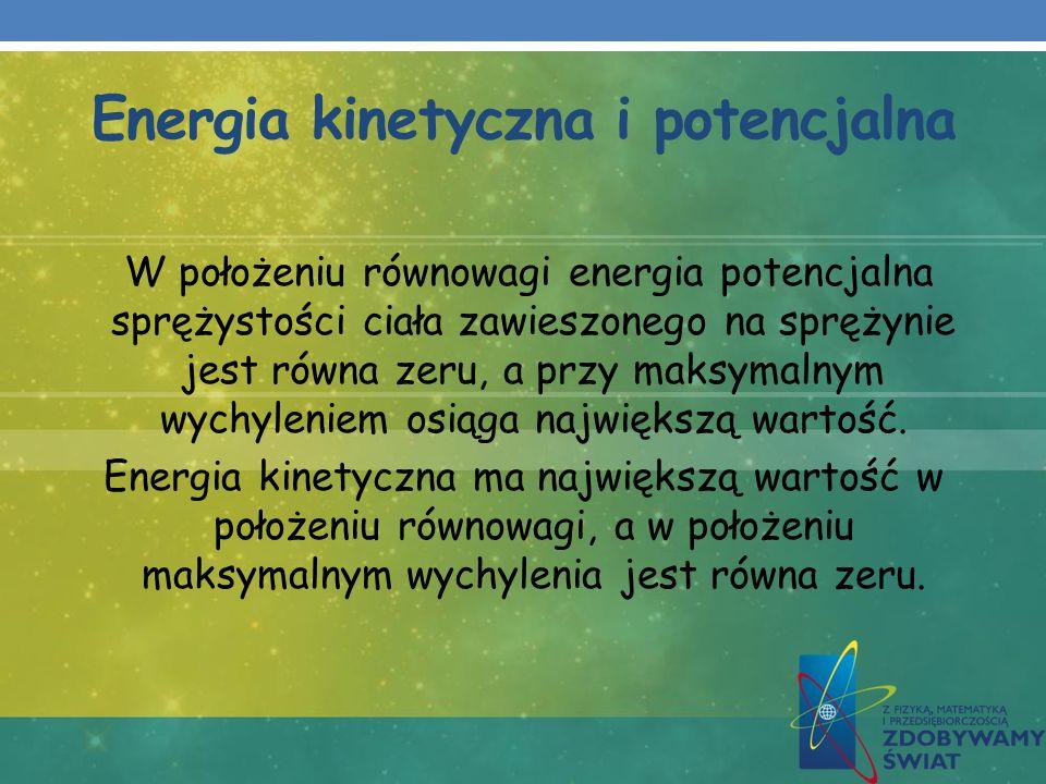 Energia kinetyczna i potencjalna W położeniu równowagi energia potencjalna sprężystości ciała zawieszonego na sprężynie jest równa zeru, a przy maksym
