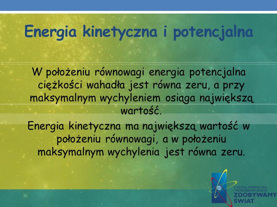 Energia kinetyczna i potencjalna W położeniu równowagi energia potencjalna ciężkości wahadła jest równa zeru, a przy maksymalnym wychyleniem osiąga na