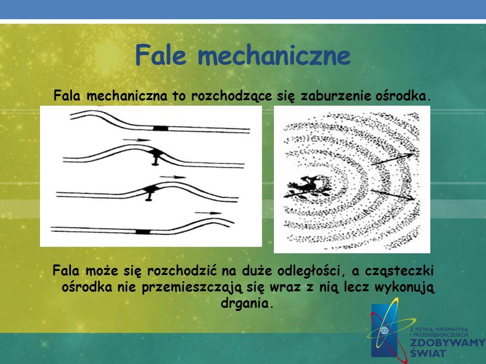 Fale mechaniczne Fala mechaniczna to rozchodzące się zaburzenie ośrodka. Fala może się rozchodzić na duże odległości, a cząsteczki ośrodka nie przemie