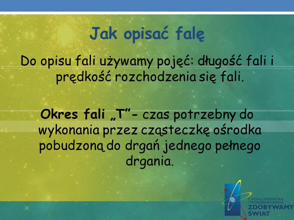 Jak opisać falę Do opisu fali używamy pojęć: długość fali i prędkość rozchodzenia się fali. Okres fali T- czas potrzebny do wykonania przez cząsteczkę