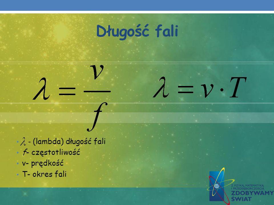 Długość fali - (lambda) długość fali f- częstotliwość v- prędkość T- okres fali