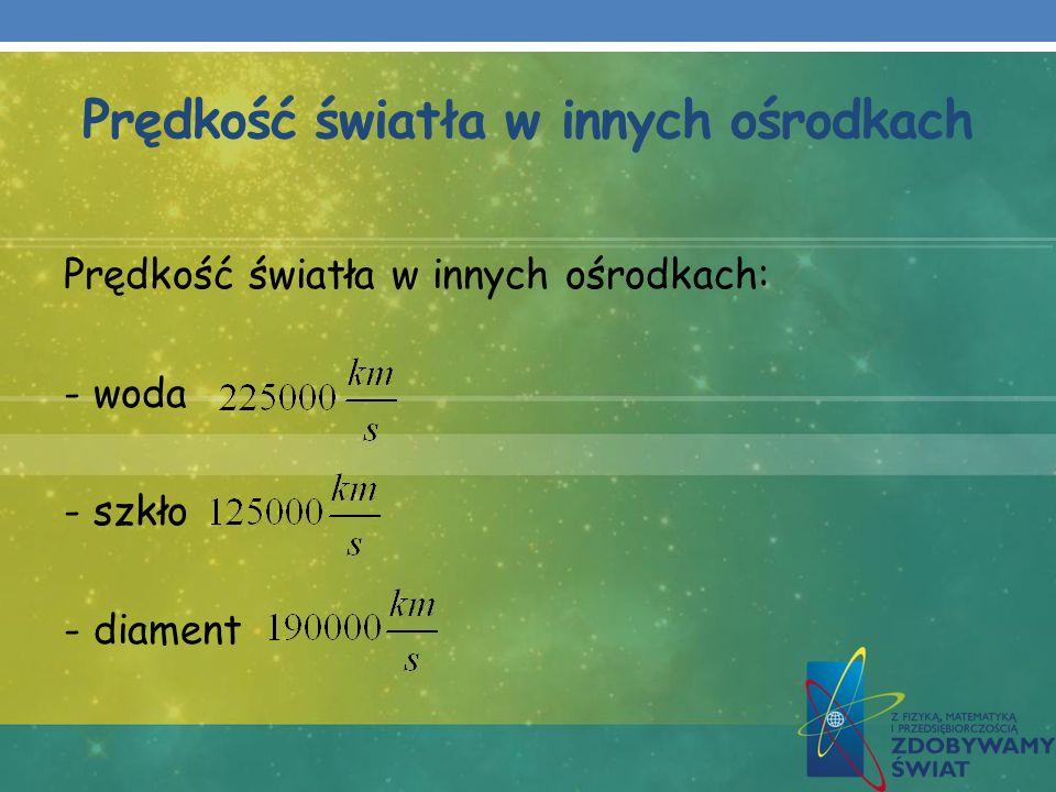 Prędkość światła w innych ośrodkach Prędkość światła w innych ośrodkach: - woda - szkło - diament